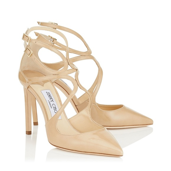 be62bf75bb67 Jimmy Choo Shoes - Jimmy Choo Lancer 100 Nude Patent Pump size 39